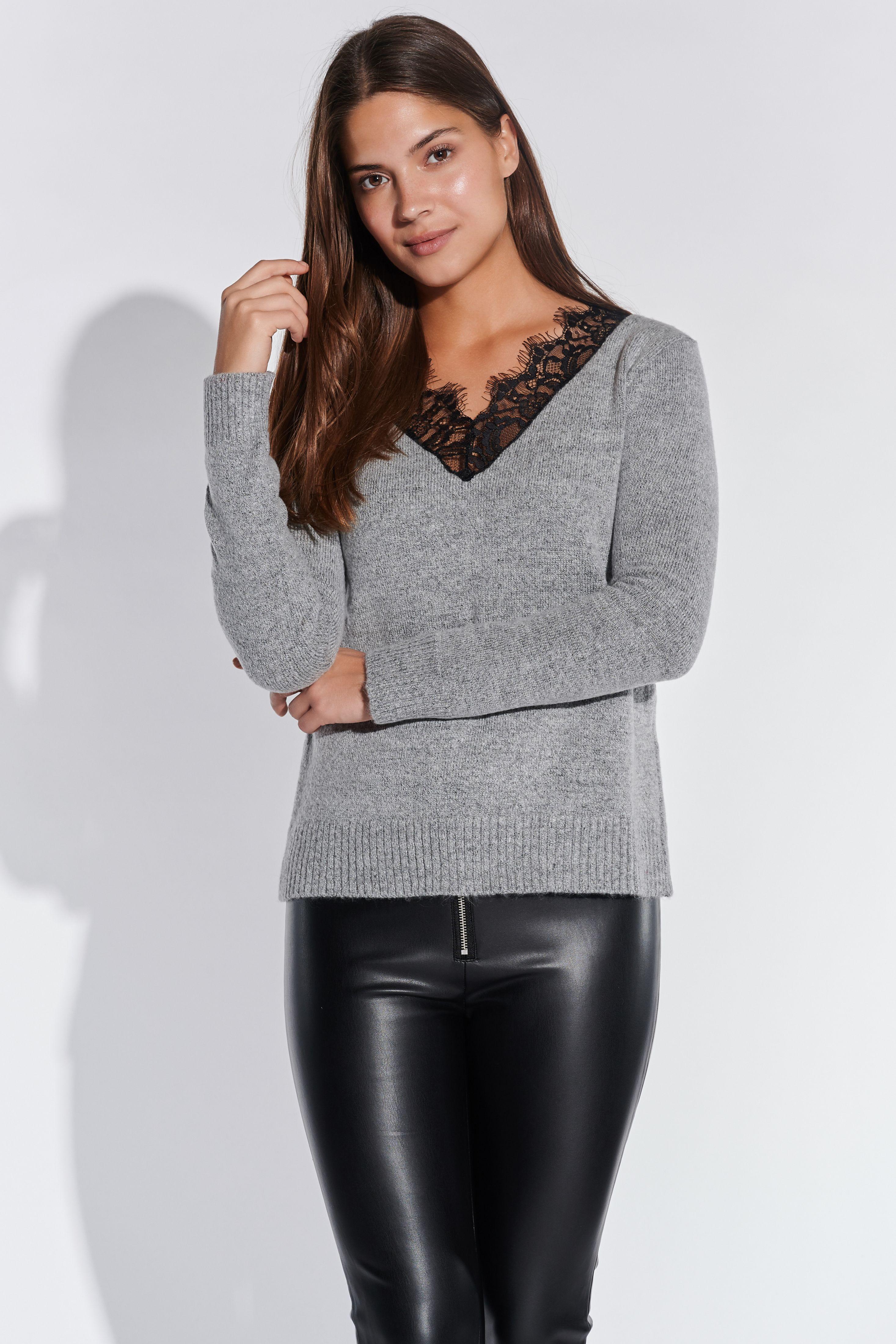Vestino Damen V-Ausschnitt-Pullover mit Spitzeneinsatz Figurumspielend Spitze