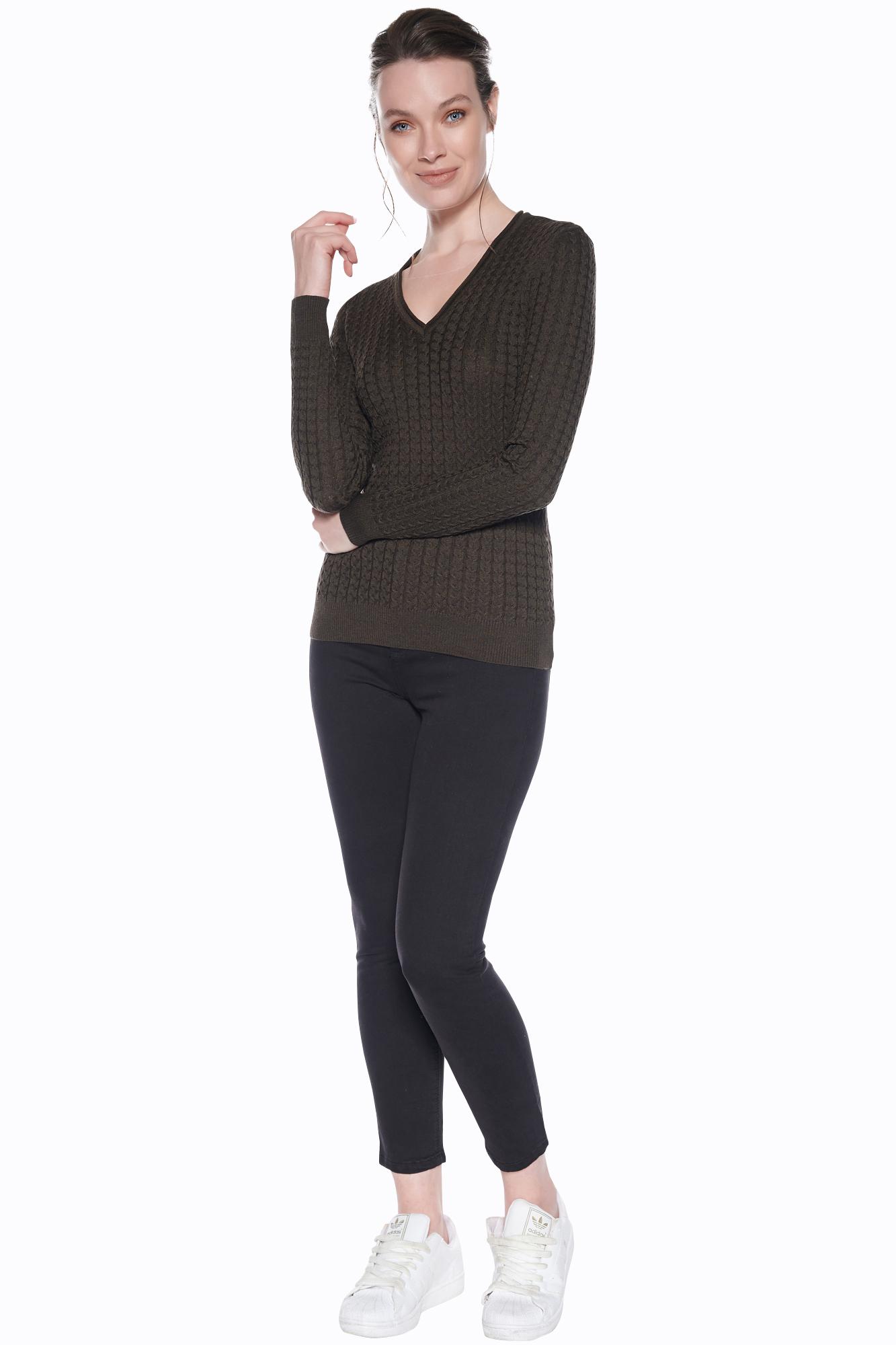 Vestino Damen V-Neck Pullover Zopfmuster Lange Ärmel Strickpullover Strick Pulli