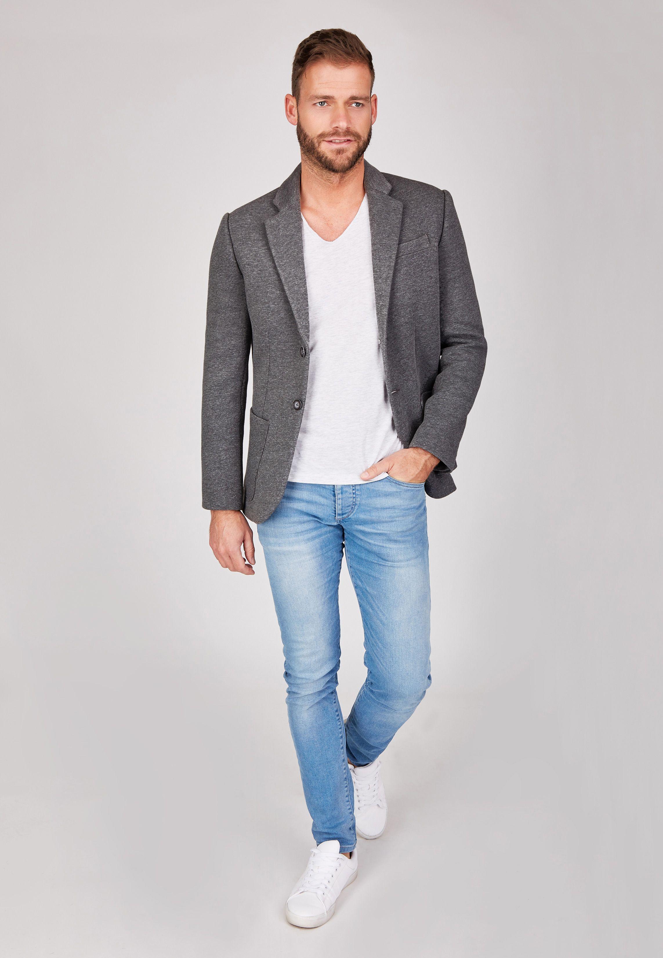 centered herren sakko designer jacket 2 knopf sakko sportlich grau sweatsakko ebay. Black Bedroom Furniture Sets. Home Design Ideas
