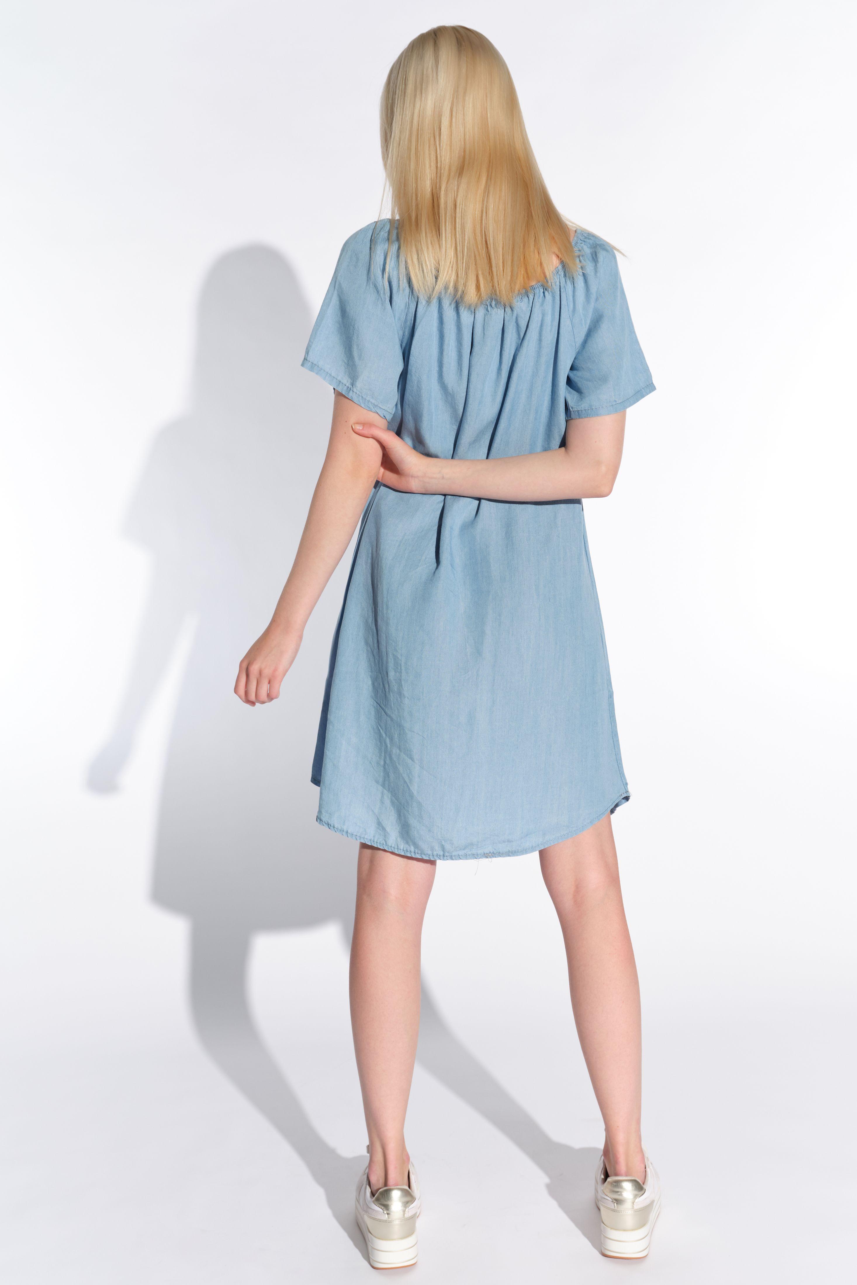 Vestino-Damen-Tunika-Kleid-Mini-Kleid-Jeans-Look-Kurzarm-Tunika-Offshoulder Indexbild 6