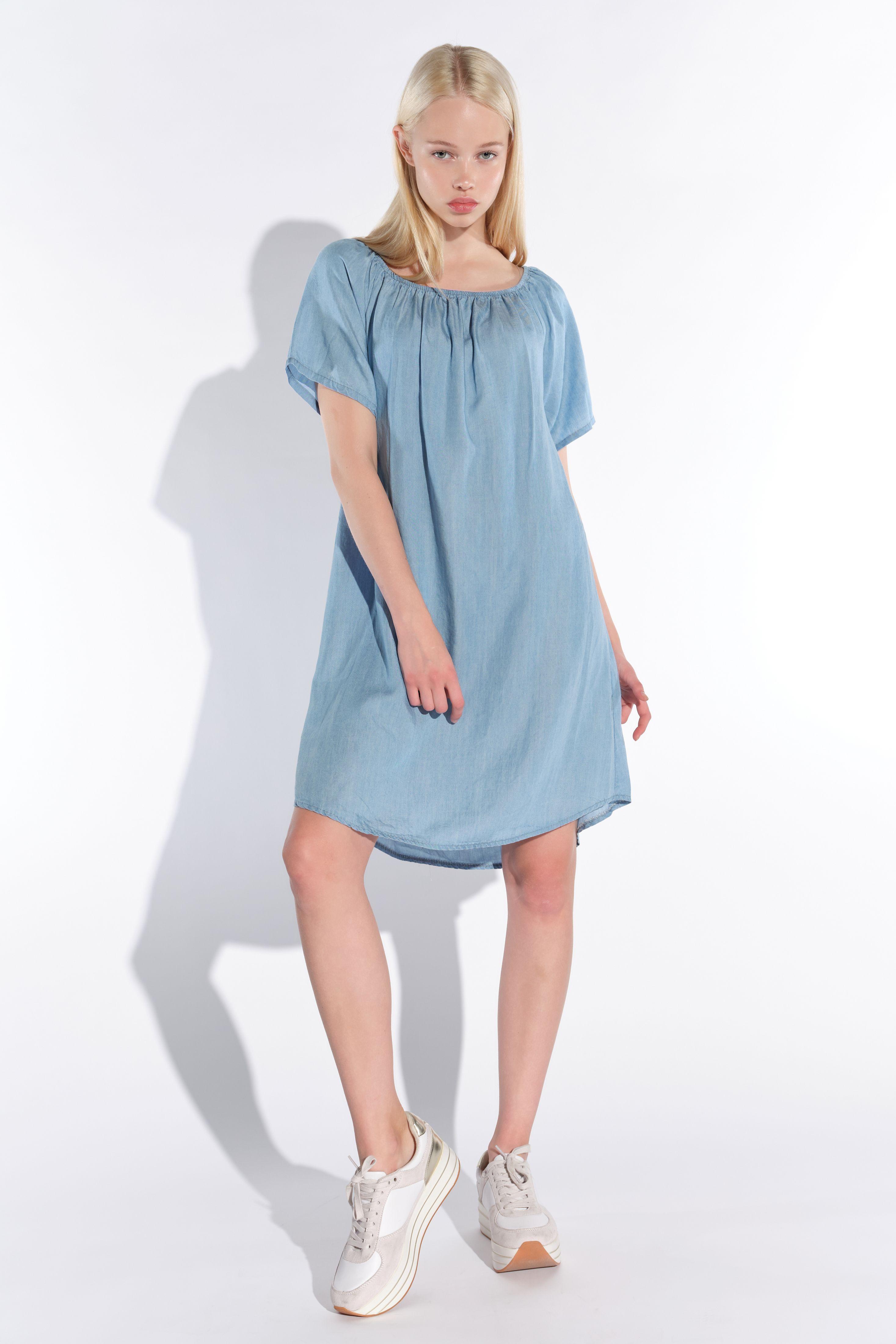 Vestino-Damen-Tunika-Kleid-Mini-Kleid-Jeans-Look-Kurzarm-Tunika-Offshoulder Indexbild 4