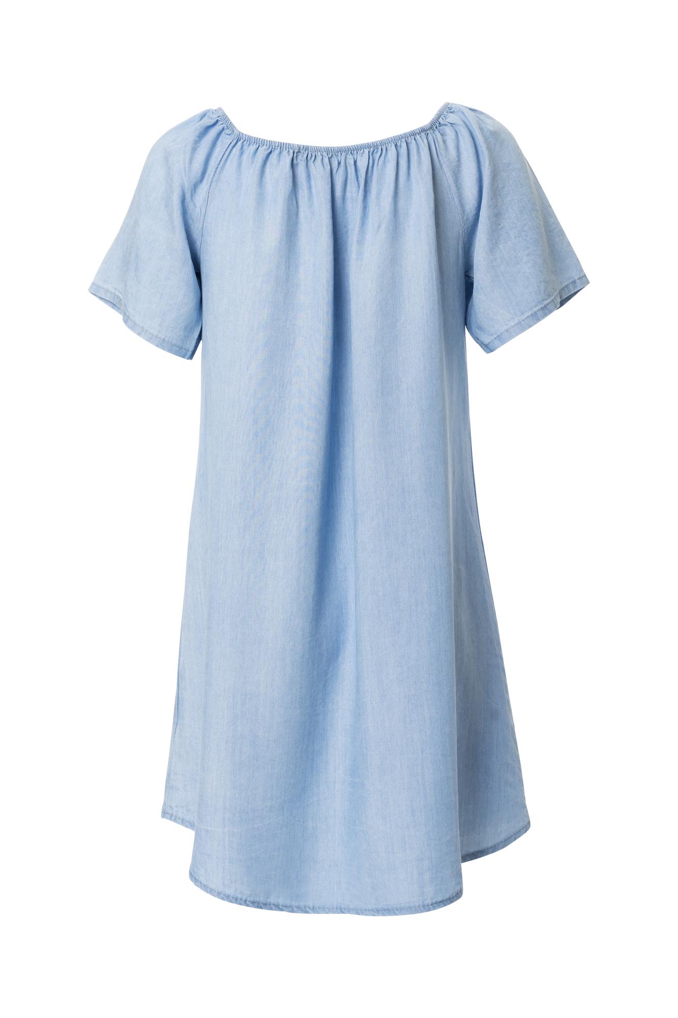 Vestino-Damen-Tunika-Kleid-Mini-Kleid-Jeans-Look-Kurzarm-Tunika-Offshoulder Indexbild 2