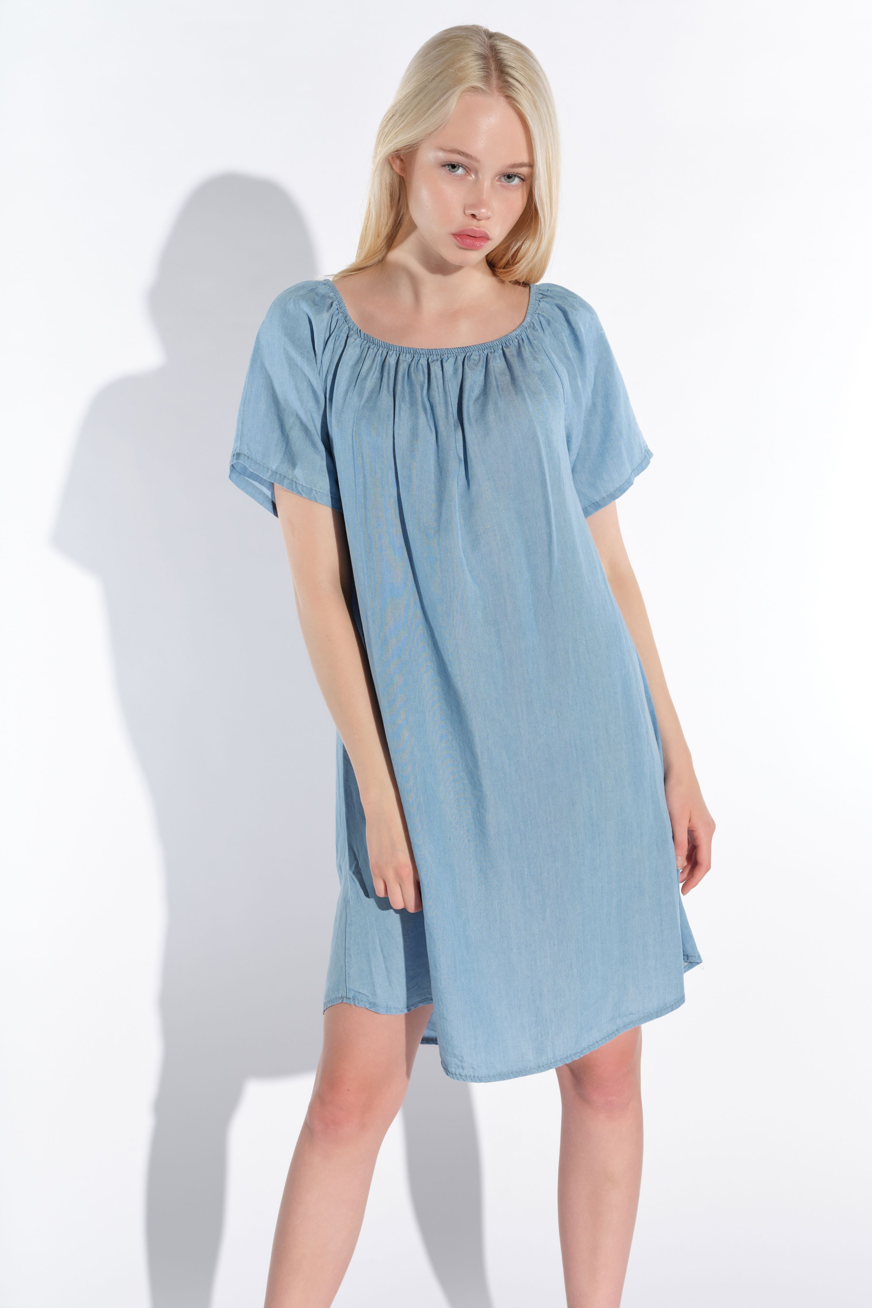 Vestino-Damen-Tunika-Kleid-Mini-Kleid-Jeans-Look-Kurzarm-Tunika-Offshoulder