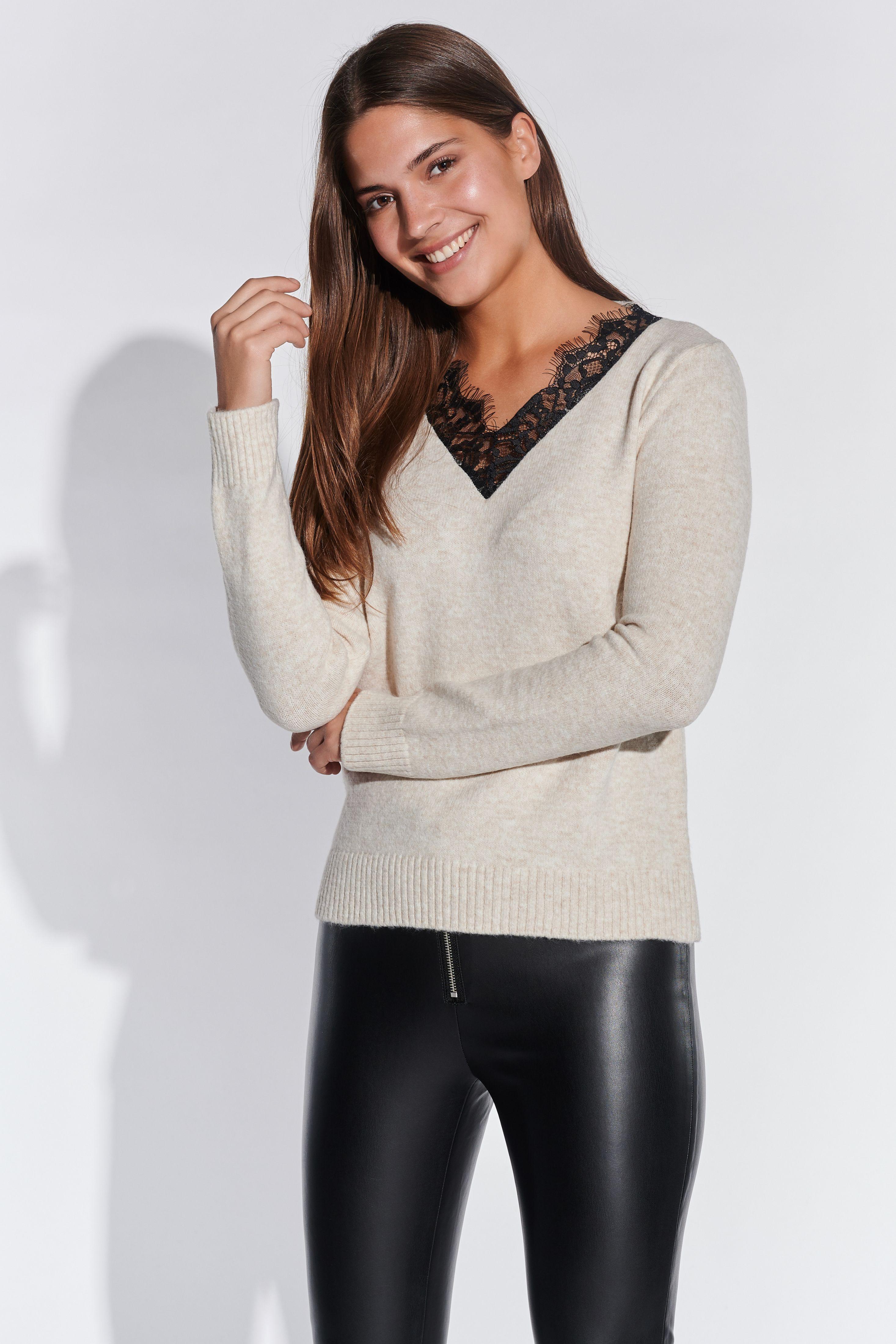 Vestino-Damen-V-Ausschnitt-Pullover-mit-Spitzeneinsatz-Figurumspielend-Spitze miniatura 4