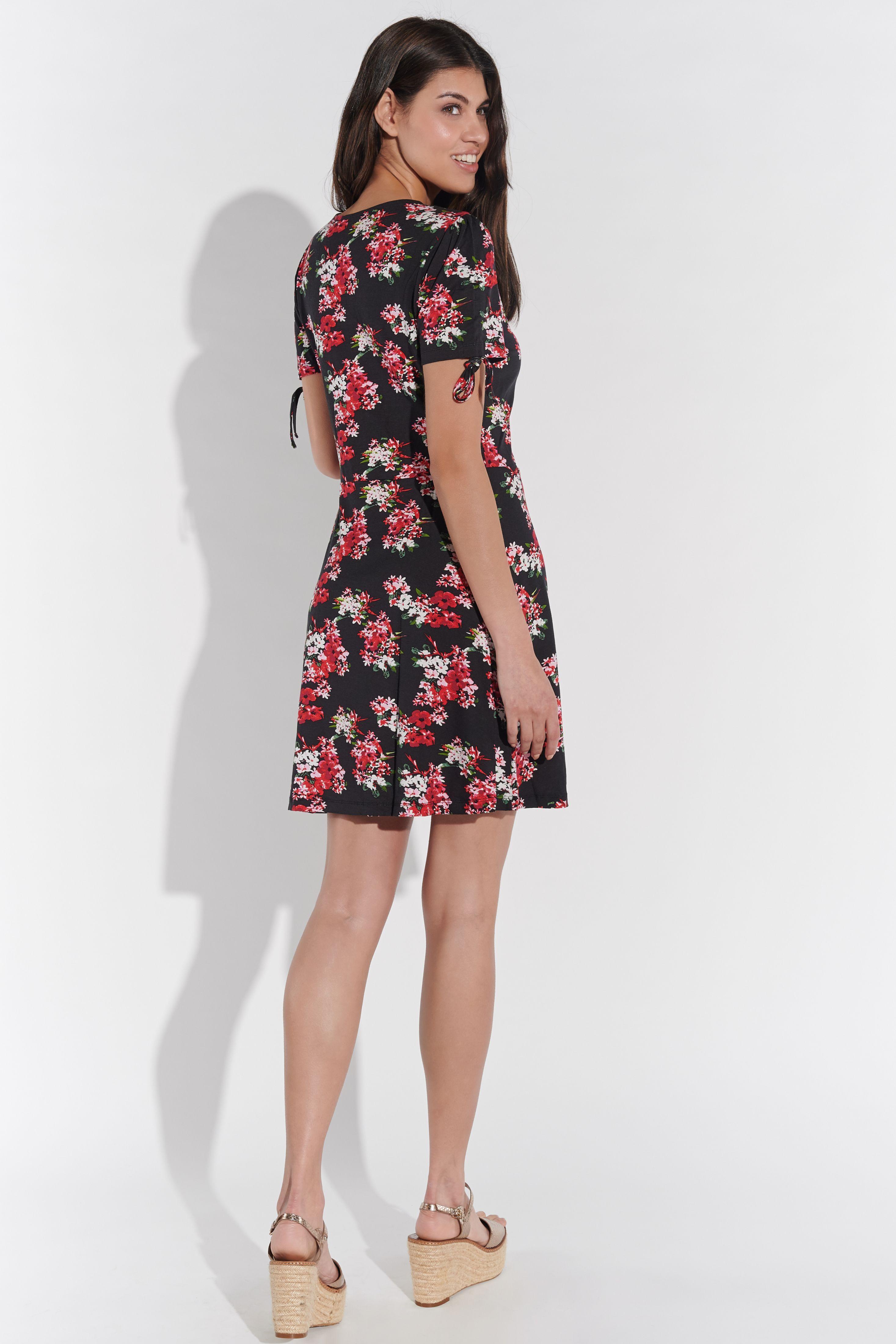 Vestino Damen Kleid Blumenkleid gerafft Sommerkleid Sommerliche Länge Körpernah
