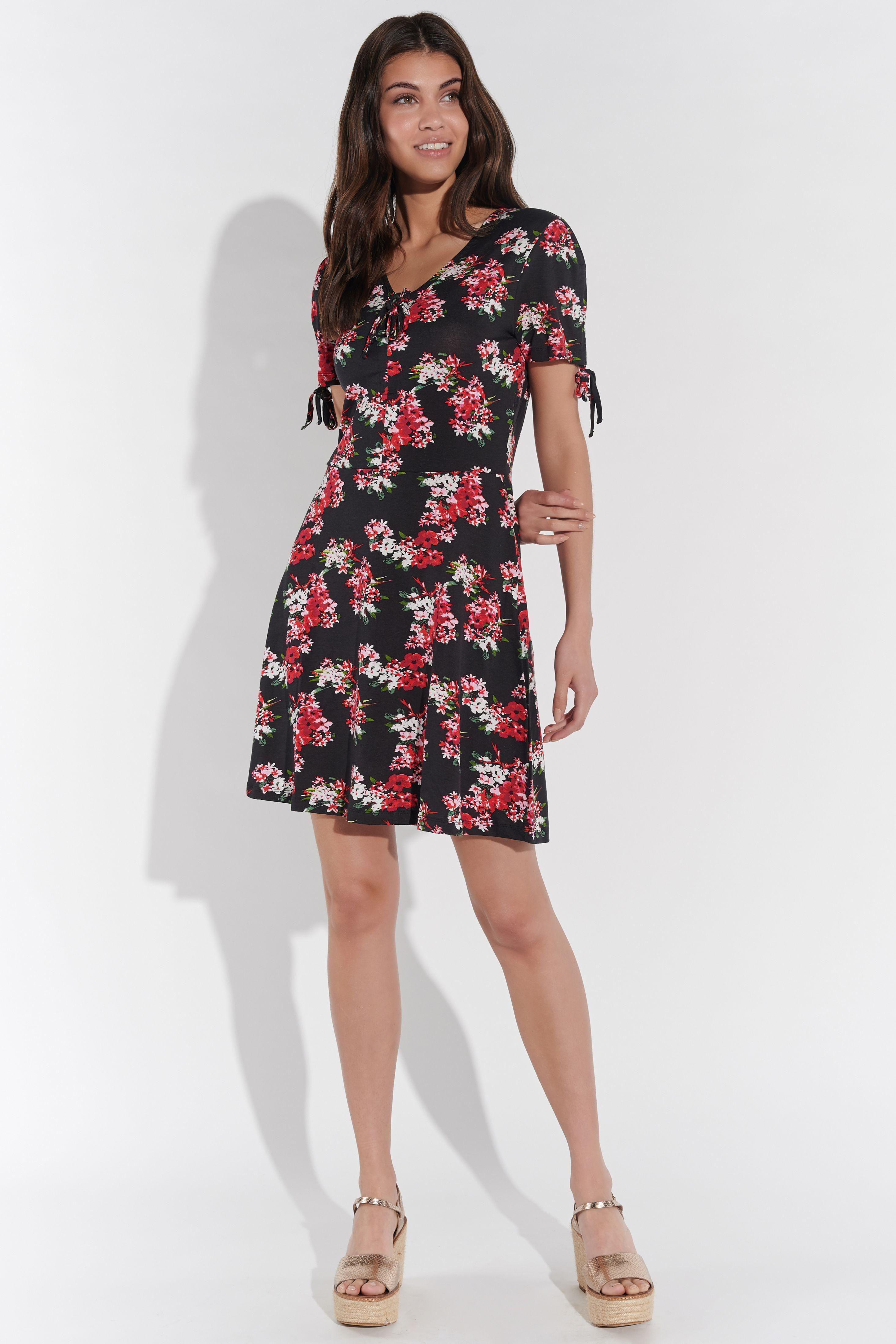 Vestino Damen Mini-Kleid Viskose-Jersey Blumen-Druck ...
